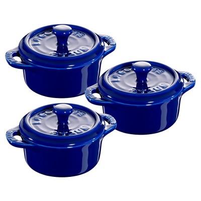 Staub Ceramic 3-pc Mini Round Cocotte Set
