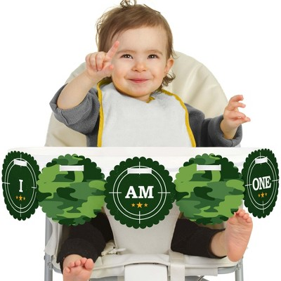 Big Dot of Happiness Camo Hero 1st Birthday Highchair Decor - I Am One - First Birthday High Chair Banner