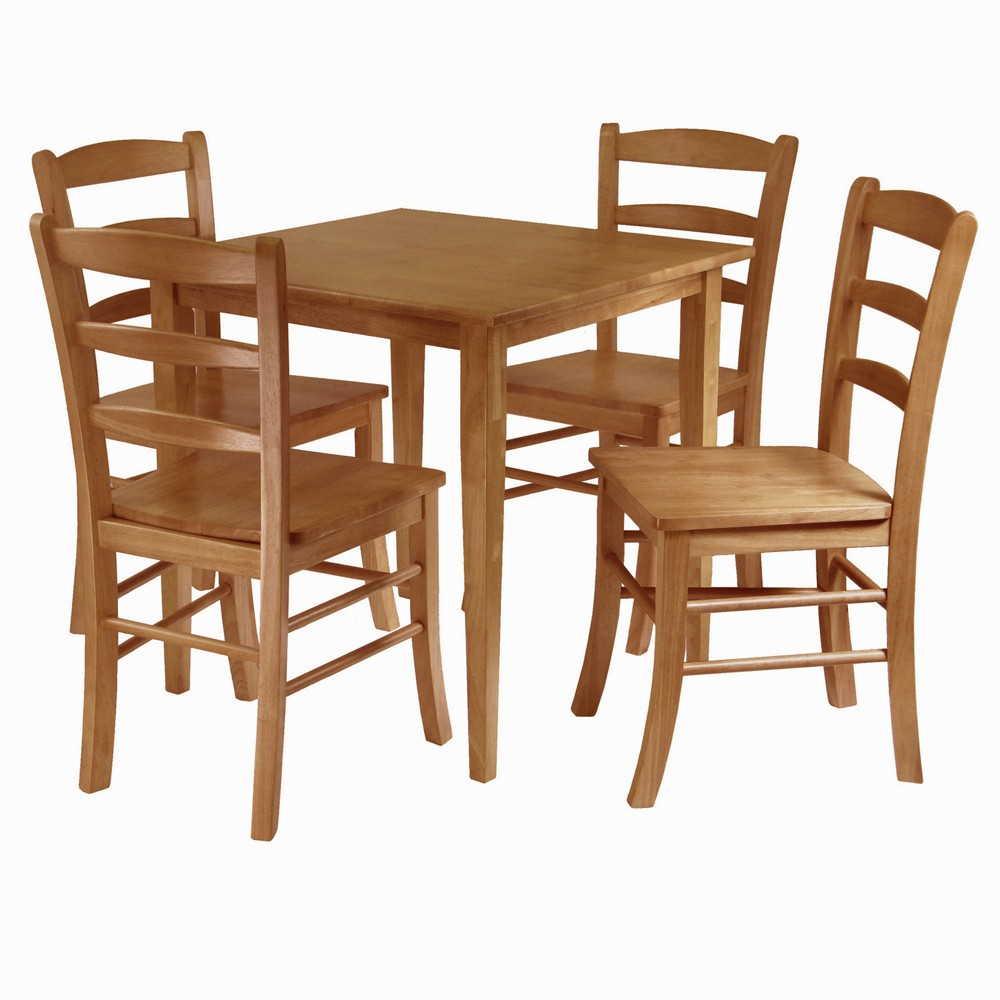 5 Piece Groveland Dining Table Set with Ladder Back Chairs Wood/Light Oak - Winsome