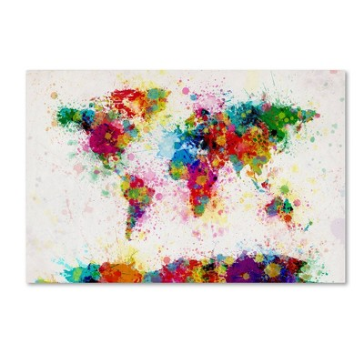 "22"" x 32"" Paint Splashes World Map by Michael Tompsett - Trademark Fine Art"