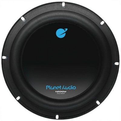 Planet Audio AC8D 8 Inch 1200 Watt 4 Ohm Dual Voice Coil Car Audio Subwoofer with Stamped Basket, Polypropylene Cone and Foam Surround, Black, Single