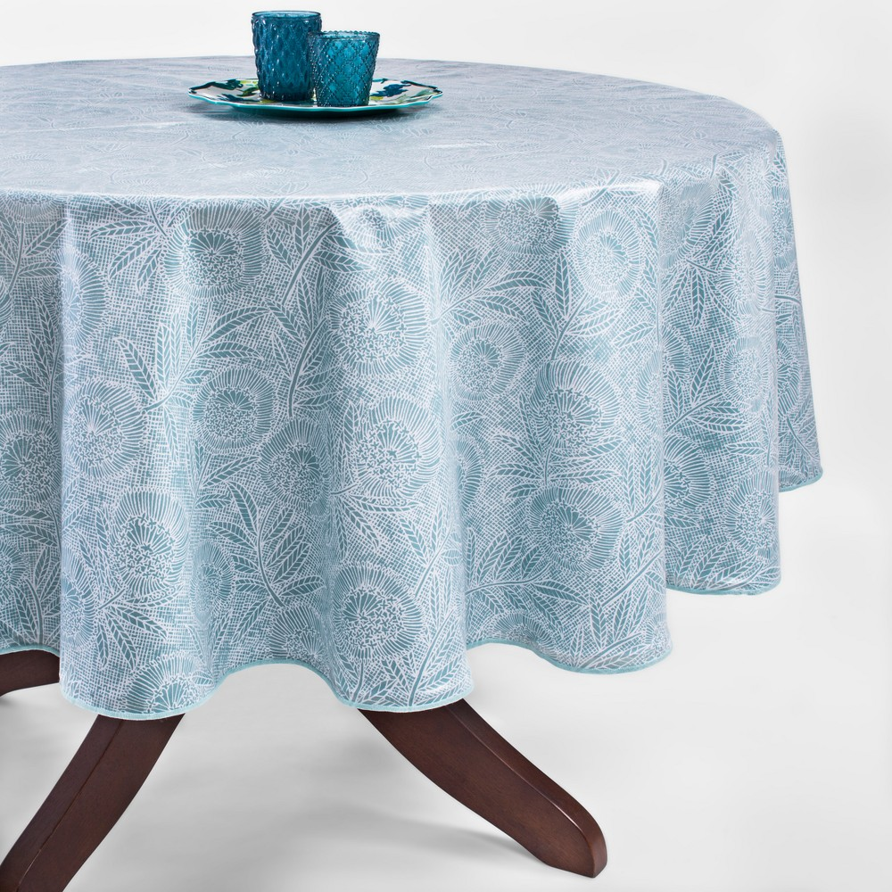 Blue Oilcloth Tablecloth 70 Round - Opalhouse