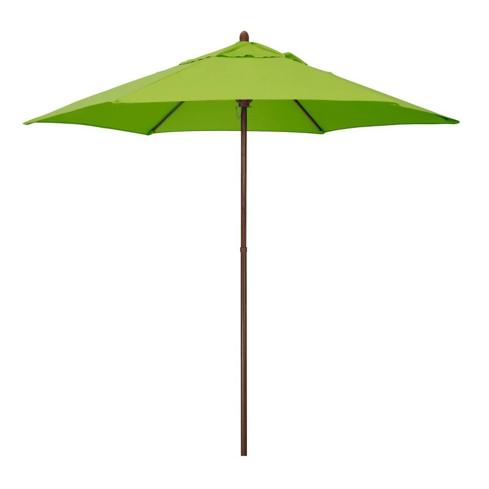9 39 X 9 39 Round Wood Grain Steel Patio Umbrella Lime Green Astella