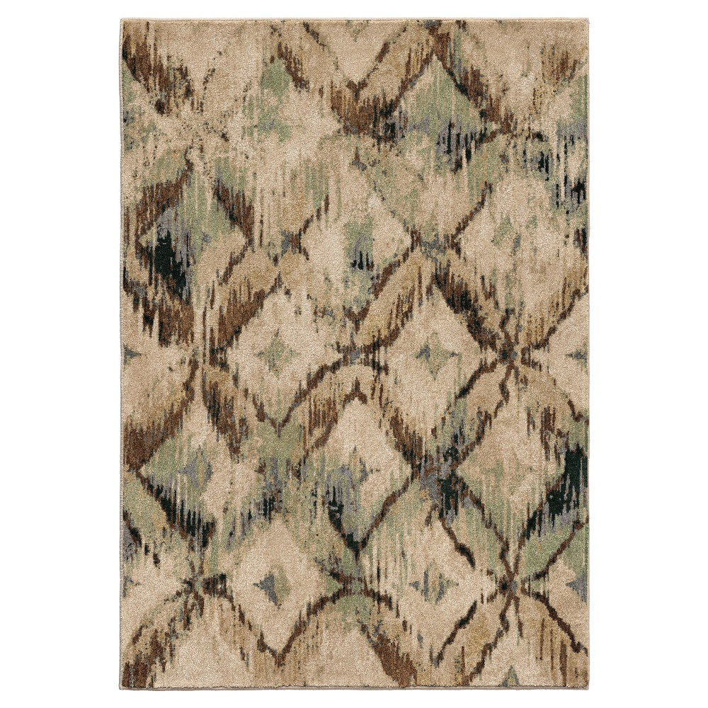 Beige Abstract Woven Area Rug - (7'10