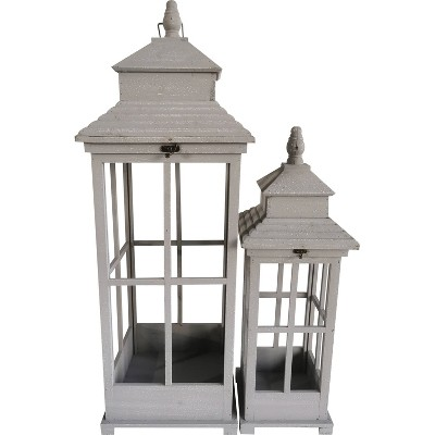 "2pc 36"" Wood Outdoor Lantern Set - Gray - Backyard Expressions"