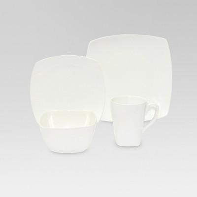 Soft Square Ceramic 16pc Dinnerware Set White - Threshold™
