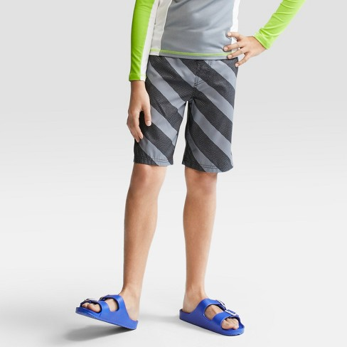 Boys' Stripe Swim Trunks - Cat & Jack™ Gray - image 1 of 4