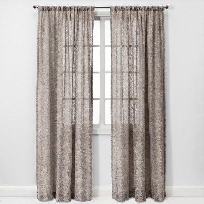 84 x54  Richter Clipped Sheer Window Curtain Panel Light Gray - Project 62™