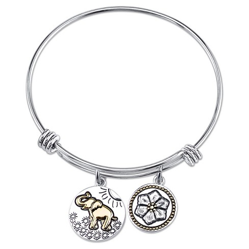 "Women's Stainless Steel Elephant Lucky Expandable Bangle - Silver/Gold (8"") - image 1 of 2"