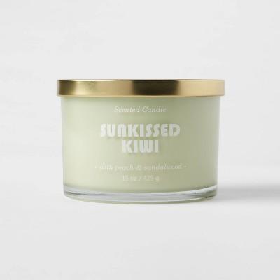 15oz Lidded Glass Jar 3-Wick Solid Mint Sunkissed Kiwi Candle - Opalhouse™