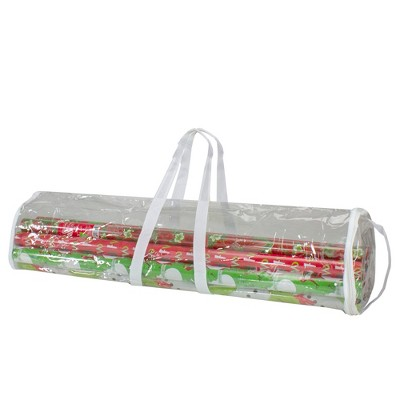"Northlight 30"" White and Transparent Christmas Gift Wrap Organizer Bag with Handles"
