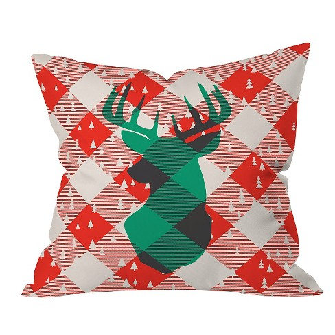 "Red Plaid Zoe Wodarz Oh Deer Me Throw Pillow (16""x16"") - Deny Designs® - image 1 of 1"