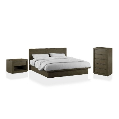 3pc Deerpath Transitional Bedroom Set Light Walnut - HOMES: Inside + Out