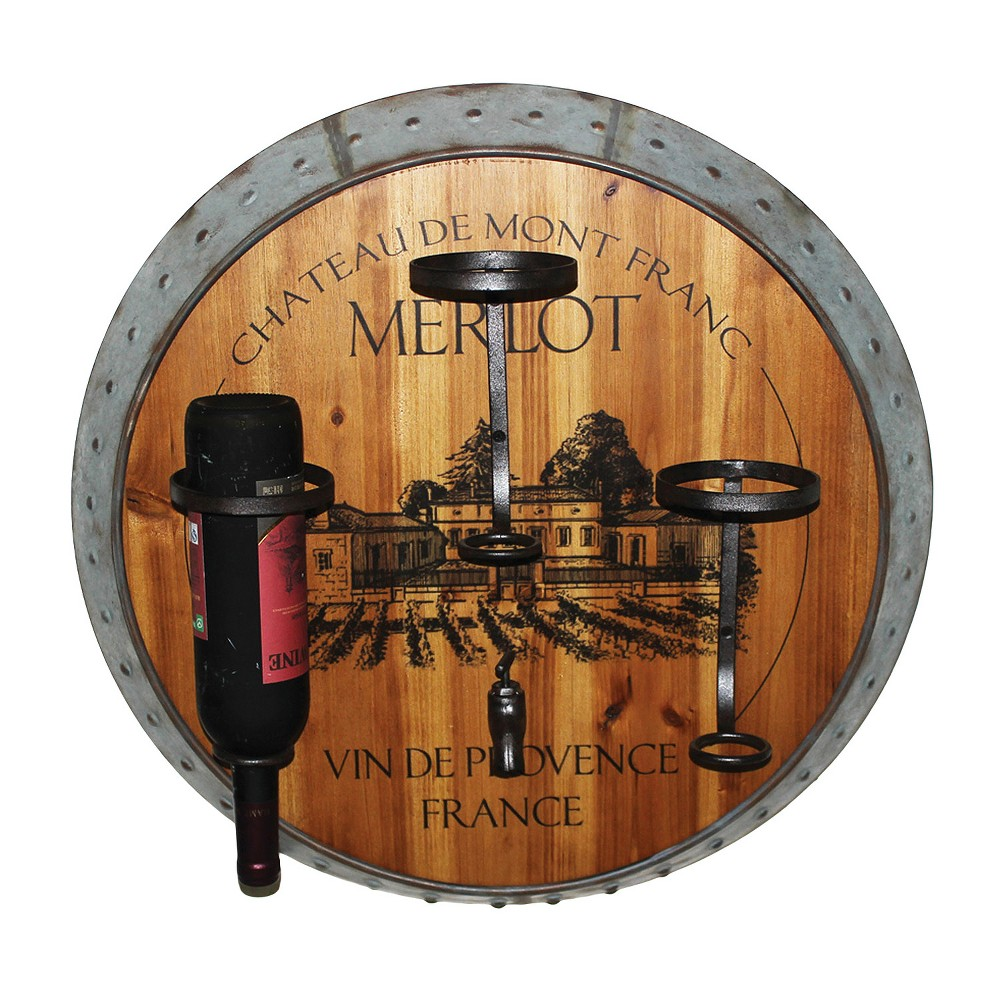 Wall Decor- Merlot Wine Holder - Home Source, Gray