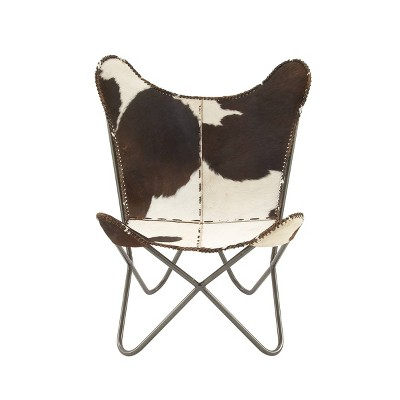 Rustic Cow Hide Leather and Iron Accent Chair White - Olivia & May