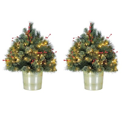Home Heritage 26 Inch Artificial Holiday Shrub with LED Lights (2 Pack)