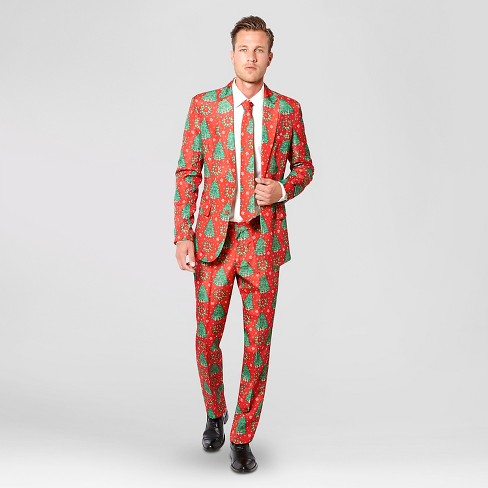 Men's Christmas Trees Suit Costume Red - Suitmeister - image 1 of 2