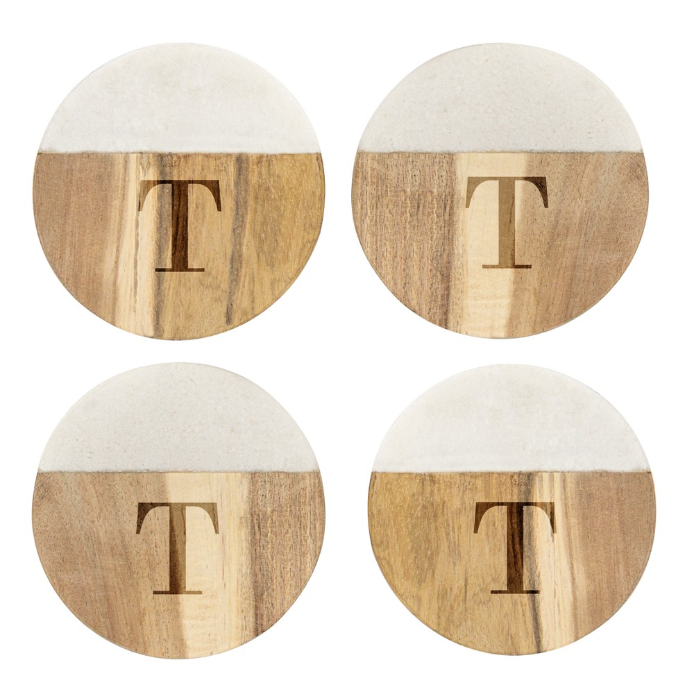 Cathy's Concepts Monogram Acacia and Marble Coasters T - Set of 4, Brown White