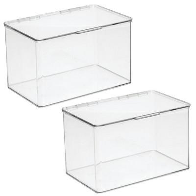 mDesign Plastic Home Office Storage Organizer Bin Box, 2 Pack