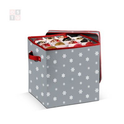 OSTO Christmas Ornament Storage Box with Lid and Holiday-Friendly Design; Fits 64 Holiday Ornaments of 3 in. Tear Proof, Waterproof 600D Polyester