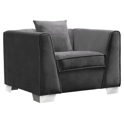 Armen Living Cambridge Contemporary Sofa Chair Velvet Dark Gray