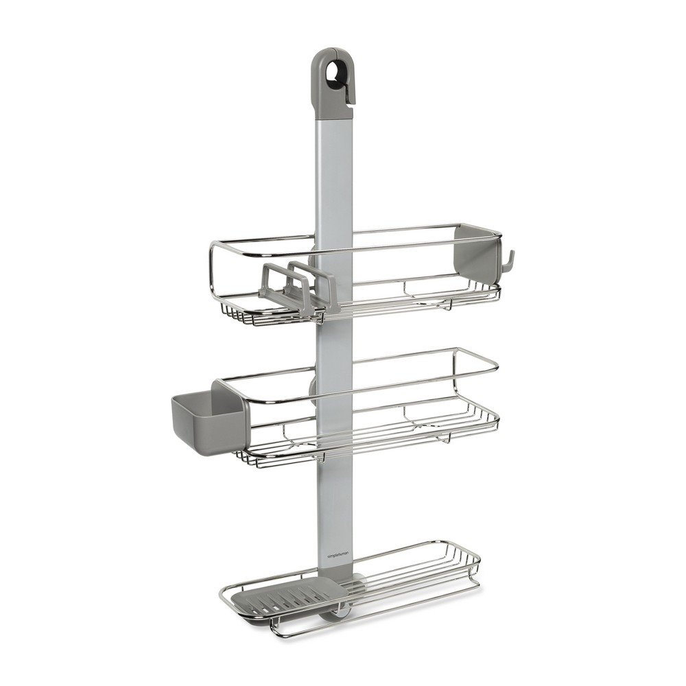 Adjustable Shower Caddy Plus Silver - simplehuman