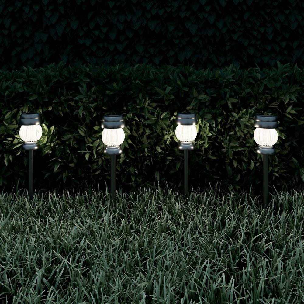 4pk Solar Path LED Outdoor Stake Lights Silver - Pure Garden