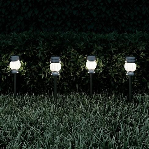 4pk Solar Path Led Outdoor Stake Lights Silver Pure Garden