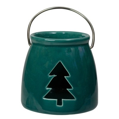 "Northlight 3"" Dark Green Christmas Votive Candle Holder with Tree Cut Out"