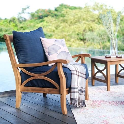 Abbington Teak Patio Lounge Chair with Cushion - Cambridge Casual - image 1 of 4