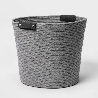 17'' Coiled Rope Tapered Basket Gray - Threshold™