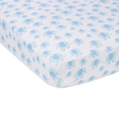 MiracleWare Elephant Muslin Crib Sheet Blue