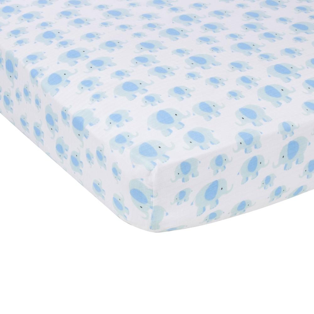 Image of MiracleWare Elephant Muslin Crib Sheet Blue