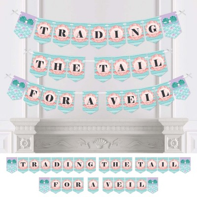 Big Dot of Happiness Trading The Tail for A Veil - Mermaid Bachelorette Party or Bridal Shower Bunting Banner - Bachelorette Party Decorations