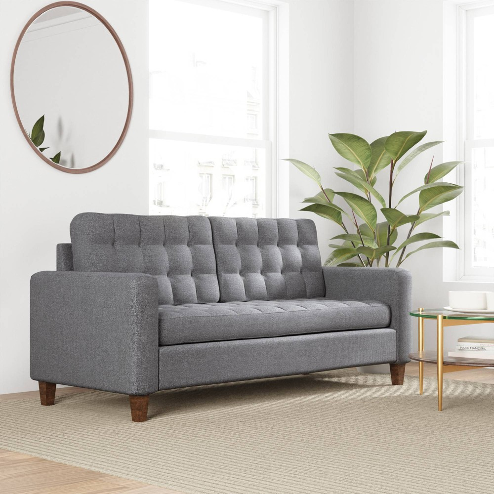 76 34 Brynn Upholstered 160 Square 160 Arm Sofa 160 With Buttonless Tufting 160 Light Gray Brookside Home