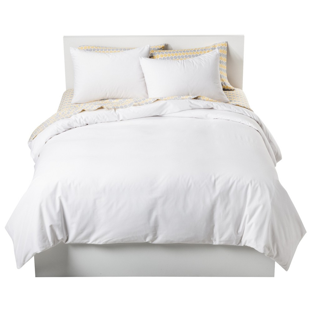 White Solid Cotton Blend Duvet Cover Set (Twin) 2pc - Room Essentials