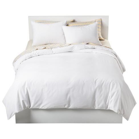 White Solid Cotton Blend Duvet Cover