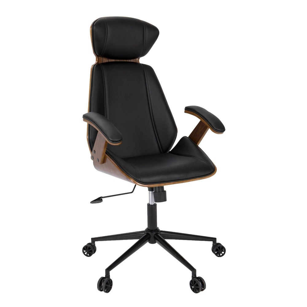Spectre Mid Century Modern Adjustable Office Chair Faux Leather Walnut/Black - LumiSource