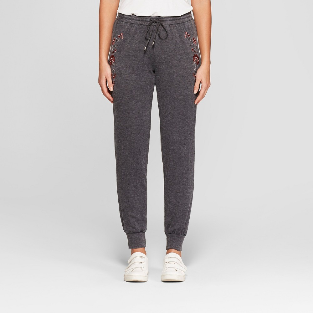 Women's Embroidered Jogger Pants - Knox Rose Gray Xxl