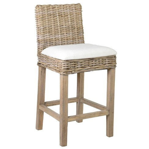 White Modern Desk Chair, Nisha Rattan Counter Height Barstool Gray East At Main Target