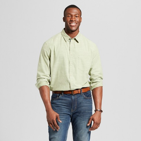 Men's Big & Tall Standard Fit Cotton Slub Solid Long Sleeve Button-Down Shirt - Goodfellow & Co™ - image 1 of 3