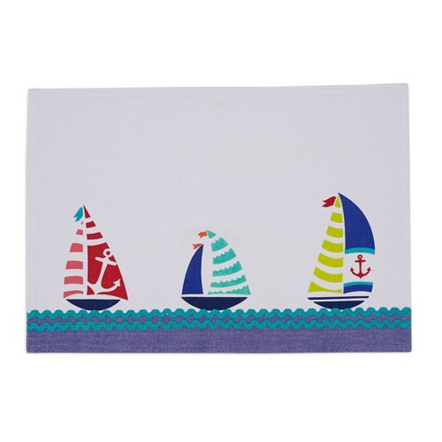 Set of 6 Sailboats Embellished Placemat White - Design Imports - image 1 of 2
