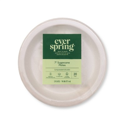 """Disposable Plates 7"""" - 20ct - Everspring™"""