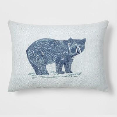 Bear Lumbar Throw Pillow Blue - Threshold™