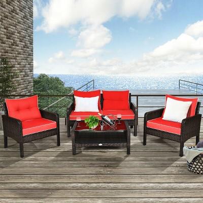 Costway 4PCS Patio Rattan Furniture Set Loveseat Sofa Coffee Table Garden W/Red Cushion