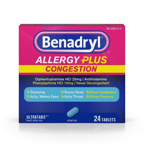 Benadryl Allergy Plus Congestion Ultratabs Allergy Relief Tablets - Diphenhydramine HCI - 24ct - image 1 of 4