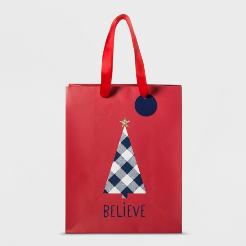 Black and White Tree on Red Gift Bag Small - Wondershop™ - image 1 of 1
