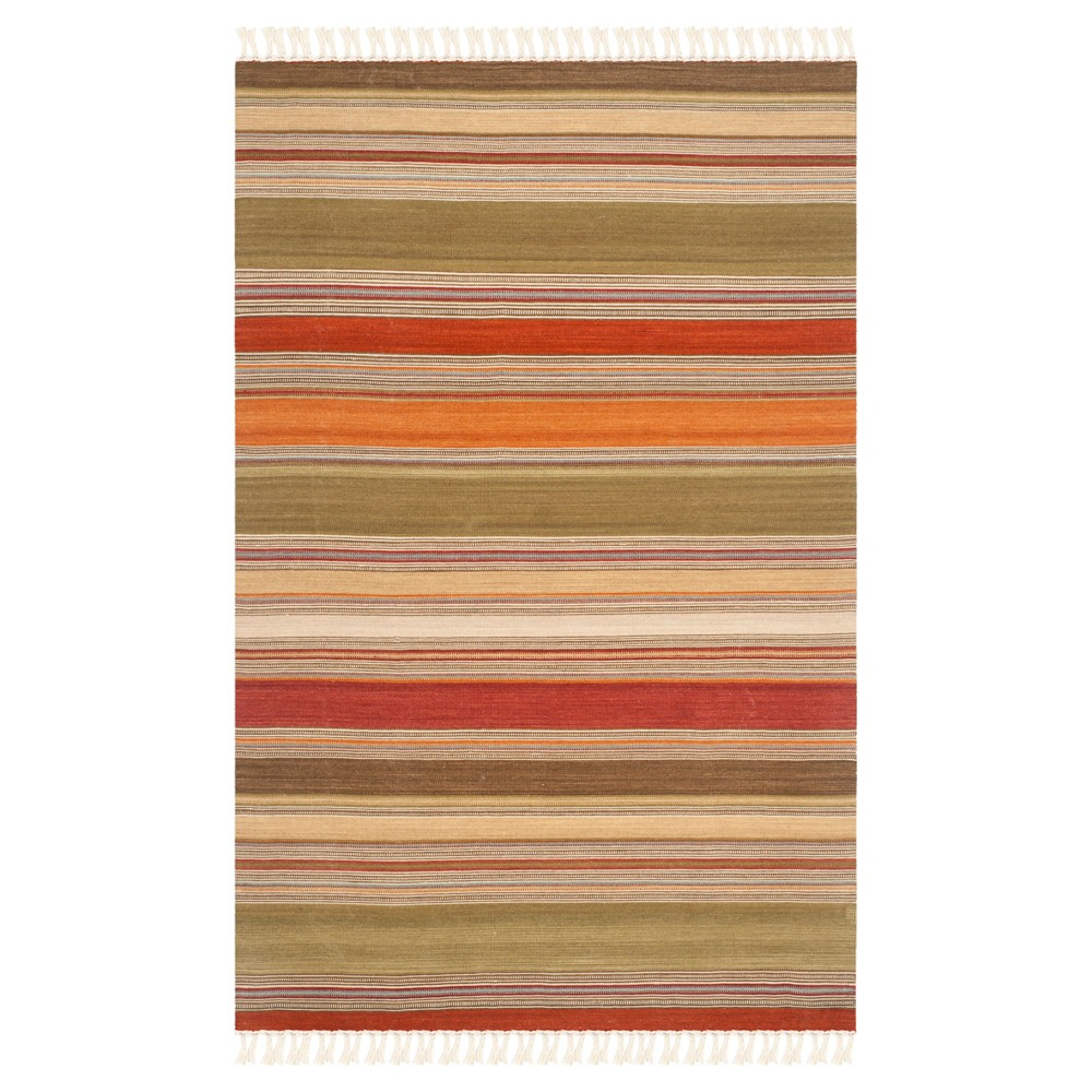 Striped Kilim Rug Green 6 39 X9 39 Safavieh