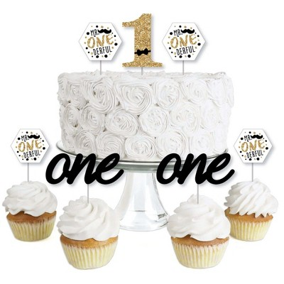 Big Dot of Happiness 1st Birthday Little Mr. Onederful - Dessert Cupcake Toppers - Boy First Birthday Party Clear Treat Picks - Set of 24