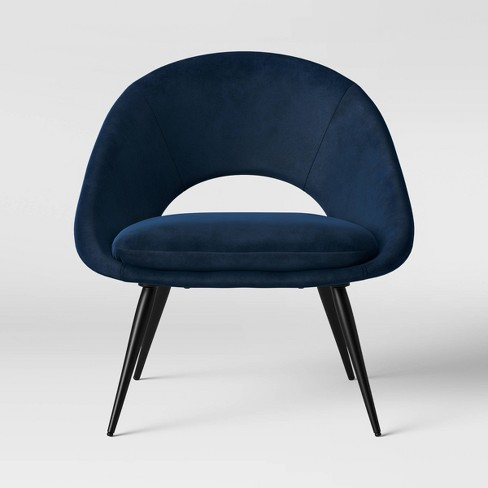 Super Rendle Modern Partially Open Accent Chair With Metal Legs Velvet Navy Project 62 Bralicious Painted Fabric Chair Ideas Braliciousco